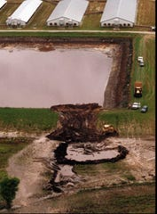 A pig-waste storage lagoon collapsed June 1, 1995 at Oceanview Farms in Onslow County, N.C., sending millions of gallons of wastewater into fields and streams.