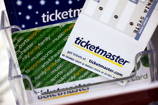 In this May 11, 2009 file photo, Ticketmaster tickets and gift cards are shown at a box office in San Jose, Calif.