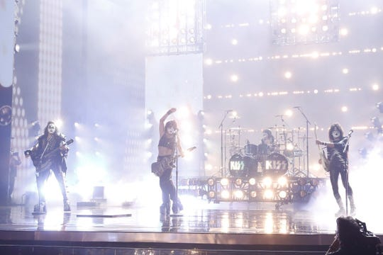"""""""KISS"""" started their farewell tour explosions with a performance on """"America's Got Talent"""" on Wednesday."""