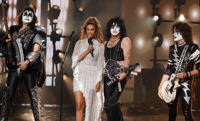 "Host Tyra Banks welcomes KISS to the ""America's Got Talent"" stage Wednesday."