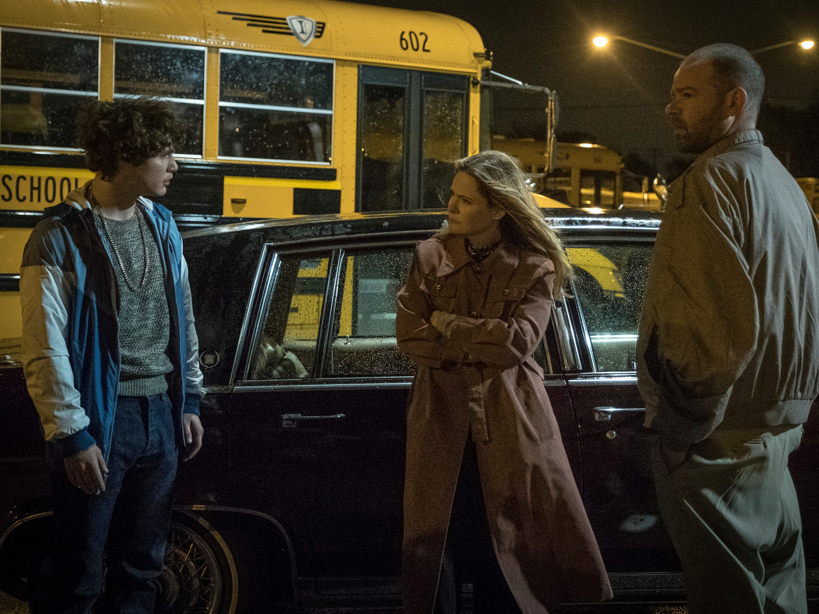 "This image released by Sony Pictures shows Richie Merritt, from left, Jennifer Jason Leigh and Rory Cochrane in a scene from ""White Boy Rick."" (Scott Garfield/Sony/Columbia Pictures and Studio 8 via AP) ORG XMIT: NYET607"