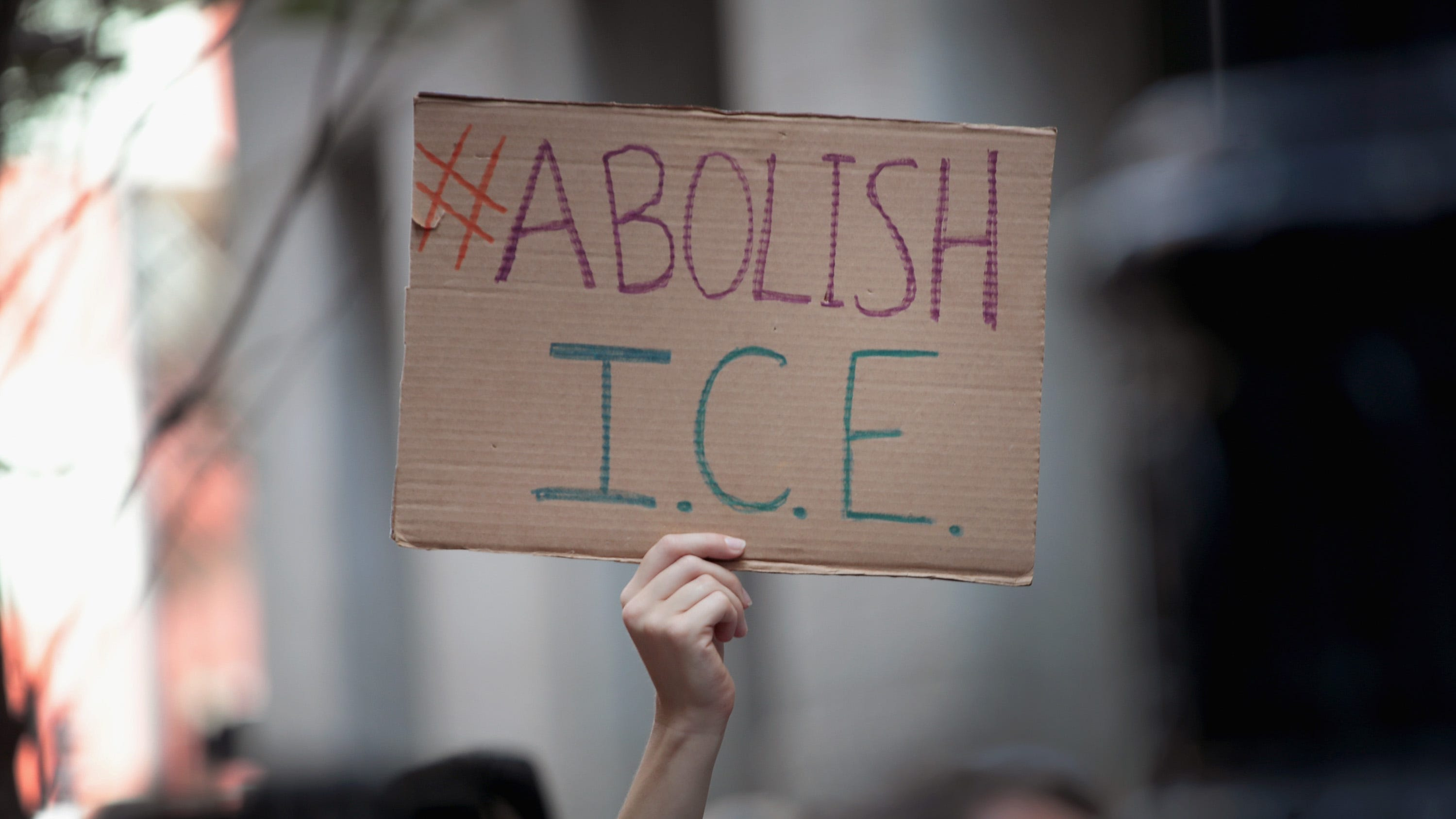Demonstrators march through downtown Chicago calling for the abolition of the U.S. Immigration and Customs Enforcement (ICE) on August 16, 2018.