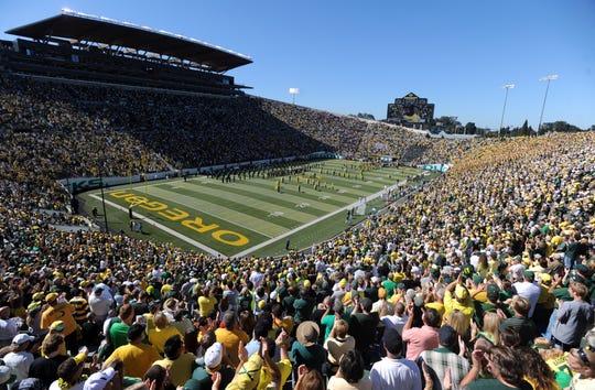 An overview of Oregon's Autzen Stadium.