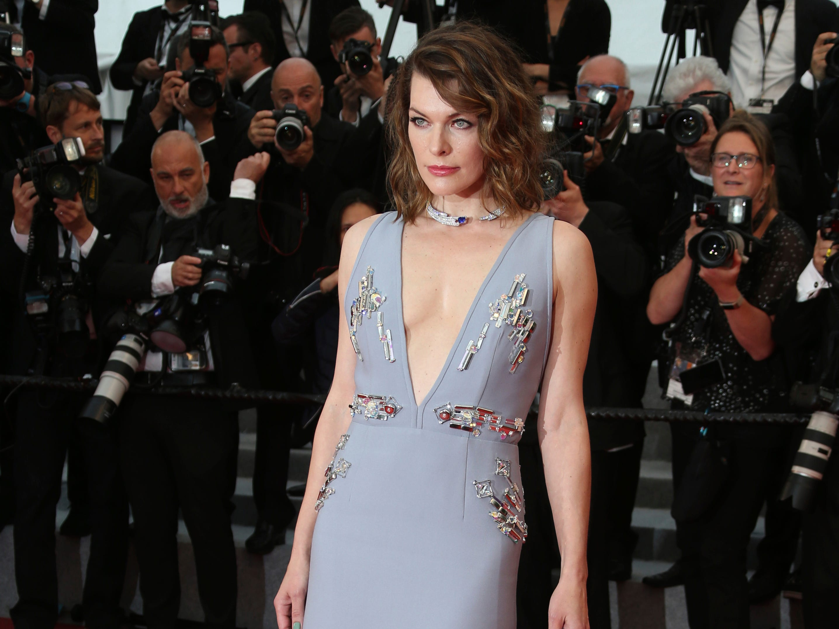 Actress Milla Jovovich poses for photographers upon arrival at the premiere of the film 'Burning' at the 71st international film festival, Cannes, southern France, Wednesday, May 16, 2018. (Photo by Joel C Ryan/Invision/AP) ORG XMIT: CAN128