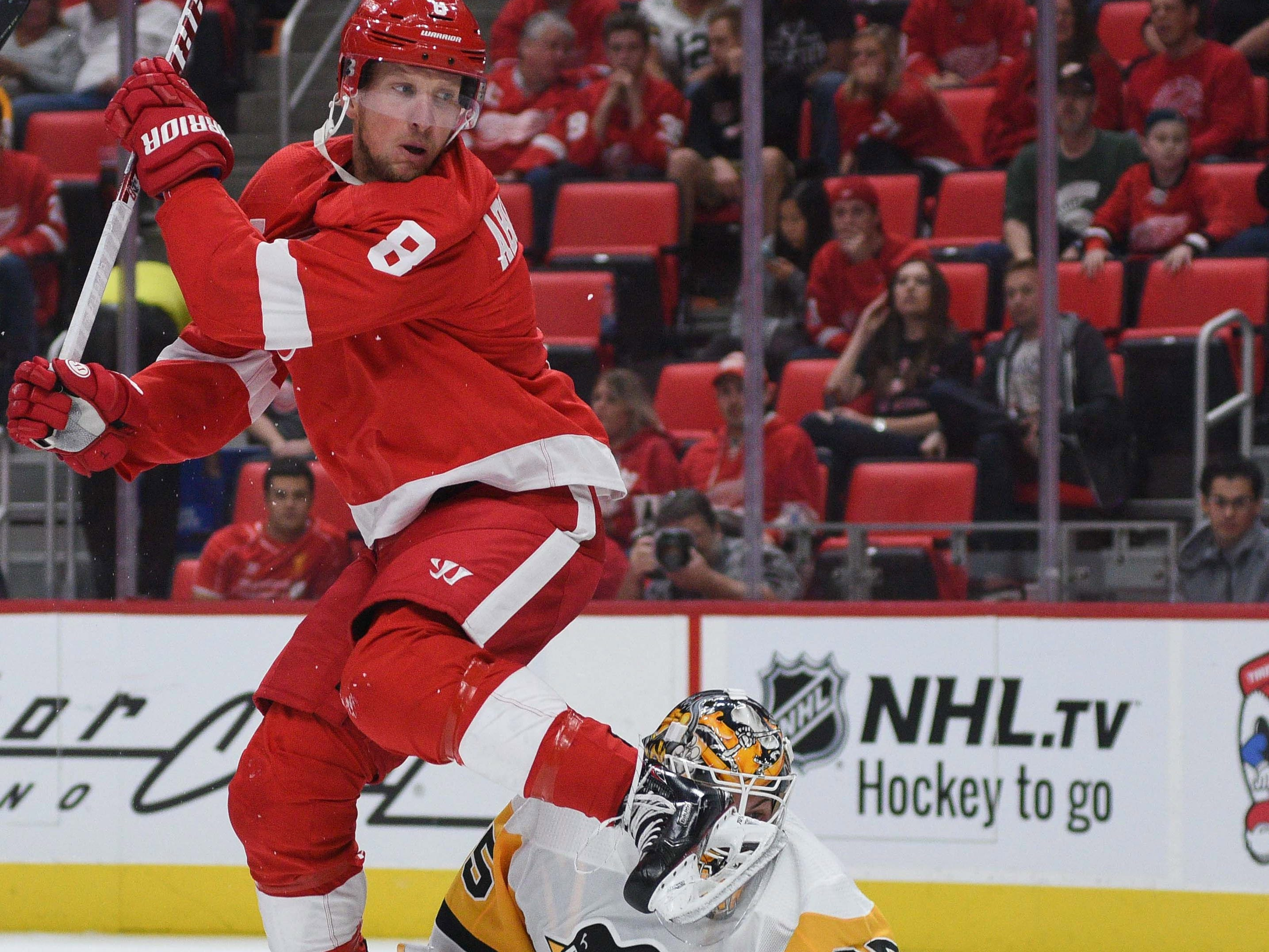 Sept. 19: Detroit Red Wings left wing Justin Abdelkader collides with Pittsburgh Penguins goaltender Tristan Jarry.