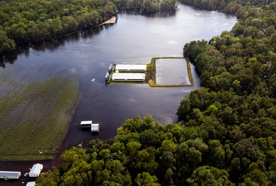 Flood waters from Hurricane Florence surround two hog houses and an animal-waste lagoon near Kinston, N.C.