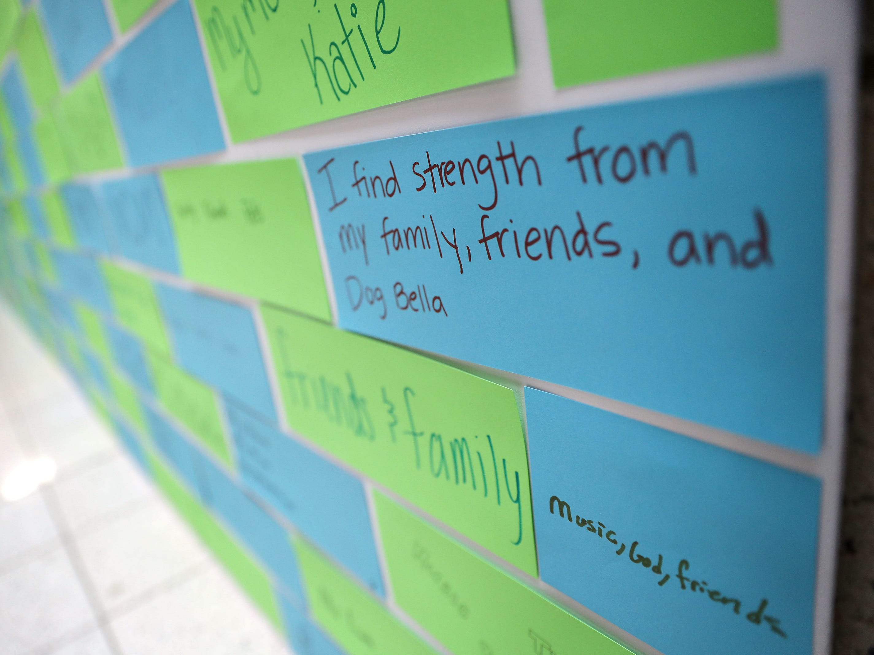 The student-created Wall of Wellness honors ways that students find strength during Little Chute's mental health wellness fair Friday, Sept. 21, 2018, in Little Chute, Wis.