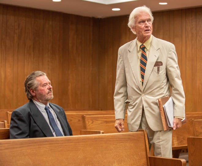Robert T. Merriken (seated, left) appears in Neptune Township Municipal Court  on Sept. 20, 2018, with his attorney Charles F. Shaw (right).