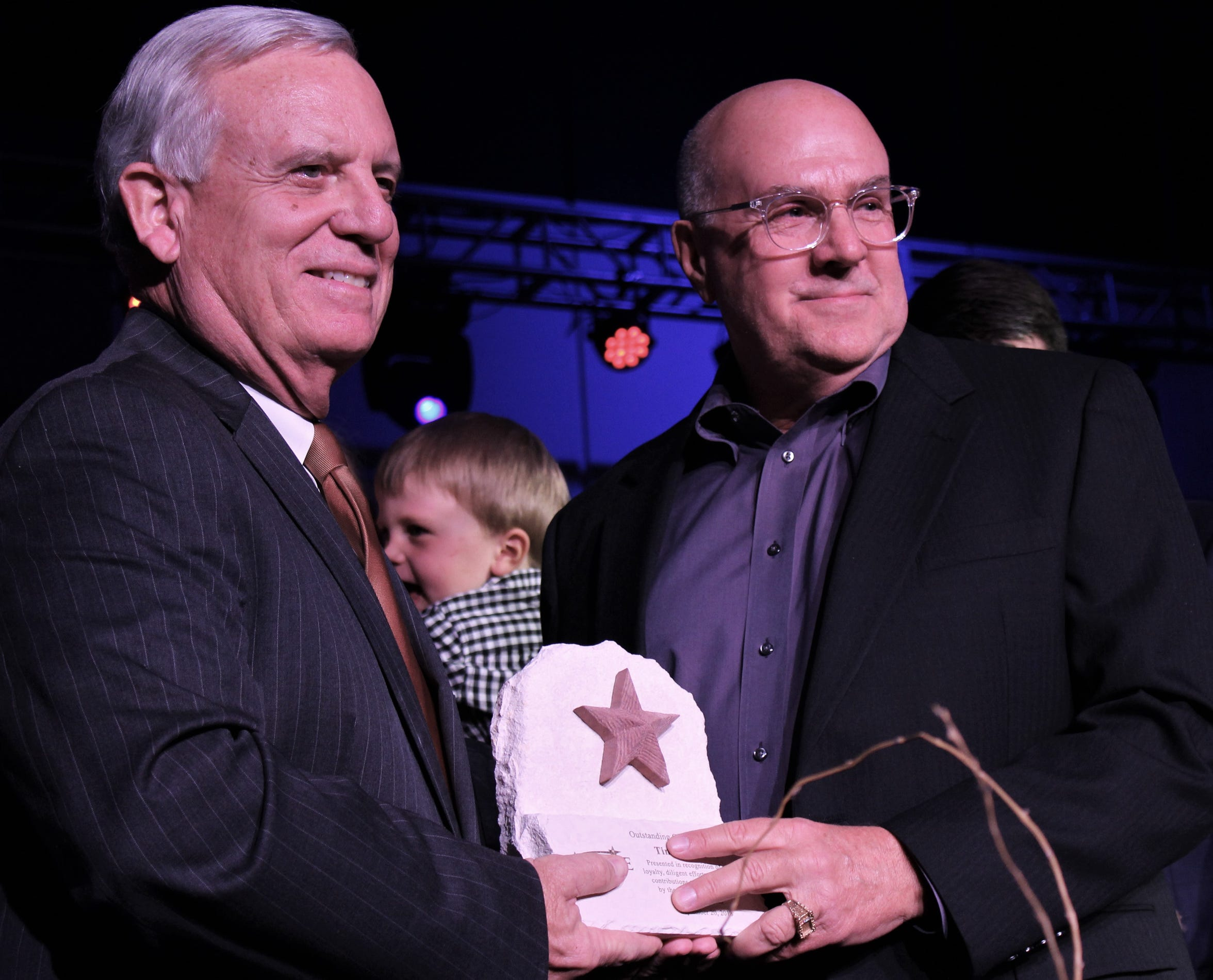 Tim Lancaster, right, the 2018 Outstanding Citizen of the Year Award winner, shared the stage with 2017 winner Norm Archibald. Both are employed by Hendrick Health System, giving the large Abilene employer back-to-back recipient.