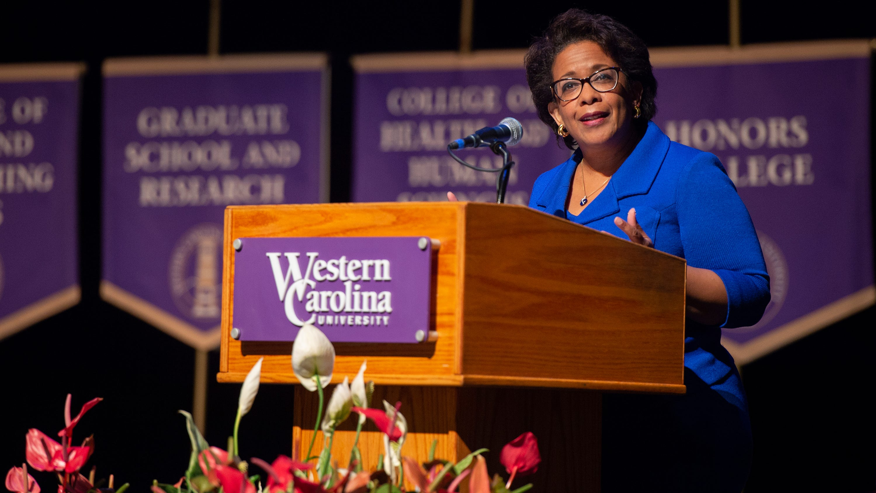 Loretta Lynch spoke to honor students and their mentors and families Sept. 18 at Western Carolina University.