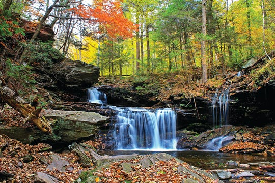 Ricketts Glen State Park in Pennsylvania encompasses 13,050 acres in Columbia, Luzerne, and Sullivan counties.