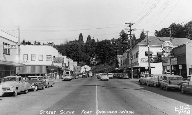 Shown around 1957 is Port Orchard at the intersection of Sidney and Bay streets. Businesses that defined the town included Myhre's Café at left, Hannah and Powell Drugs across the street, the D&R Theater in the background and Blanchard's Department Store at right. To see more photos from the Kitsap County Historical Society Museum archives, visit facebook.com/kitsaphistory, kitsapmuseum.org, or stop by the museum at 280 Fourth St. in Bremerton. Call 360-479-6226 for information.