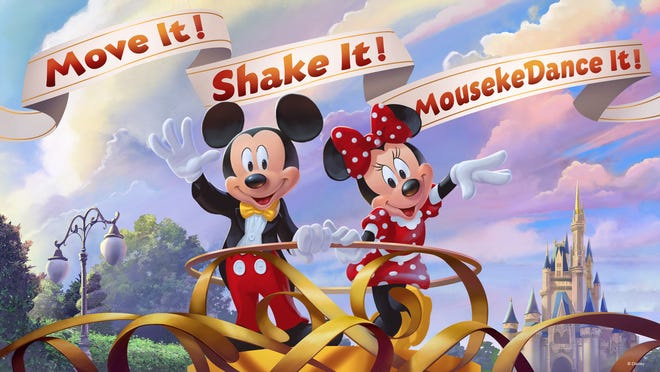 """In this artist's concept rendering, Mickey Mouse and Minnie Mouse invite guests to join in the new """"Move It! Shake It! MousekeDance It! Street Party"""" at the Magic Kingdom at Walt Disney World. The party is part of Mickey & Minnie's Surprise Celebration, which begins Jan. 18, 2019."""