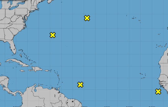 8 a.m. Sept. 21, 2018, weather advisory shows 4 systems swirling in the Atlantic.