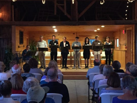 """Members of the Vermont Stage cast of """"The Curious Incident of the Dog in the Night-Time"""" take part in a reading at Isham Family Farm in Williston on Sept. 17, 2018."""