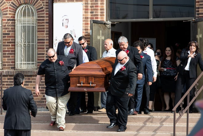 The casket for Claudine Ann Luera is carried out after her funeral service on Friday, Sept. 21, 2018. Border Patrol supervisor Juan David Ortiz was arrested in connection with the killing of Claudine, along with three others Sept. 15, 2018. A fifth woman survived.