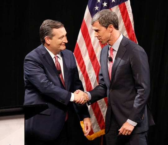 In one of the nation's most-watched Senate races in the nation in 2018, Republican U.S. Sen. Ted Cruz, left, and Democratic U.S. Rep. Beto O'Rourke shake hands before their first debate for a Texas U.S. Senate seat Sept. 21, 2018, in Dallas.