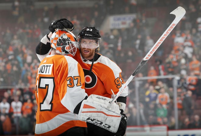 Jake Voracek, right, is entering his eighth season with the Flyers. He's starting to see the fruits of the team's rebuild.