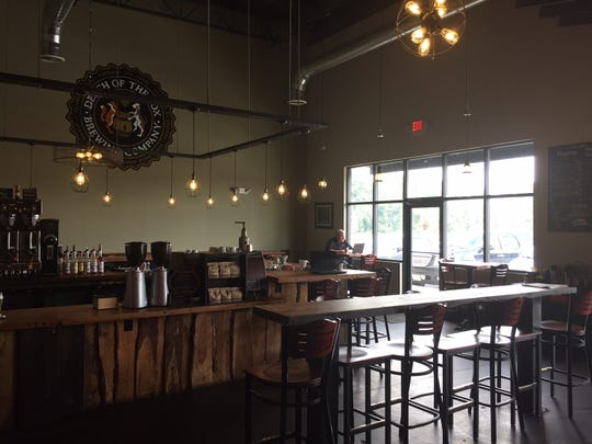 The tasting room of Death of the Fox Brewing Company in East Greenwich Township, which serves both beer and a variety of local roasted and other coffees.