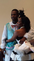 Basim Gilliard surprised his aunt Kiesha Shields by dressing as a rabbit for her 'Alice in Wonderland' themed bridal shower.