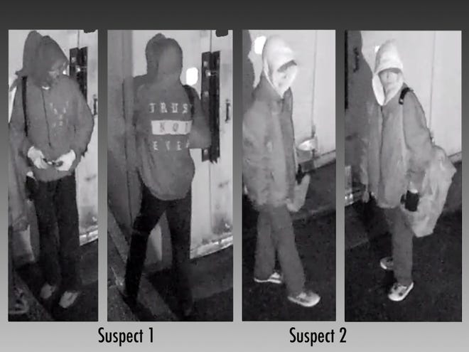 Police release surveillance images showing two men suspected of stealing frozen chicken from a Roselawn Popeyes.