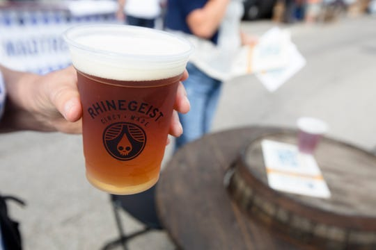 Franz, an Oktoberfest beer, from Rhinegeist during Oktoberfest Zinzinnati on Friday, Sept. 21, 2018, in downtown Cincinnati.
