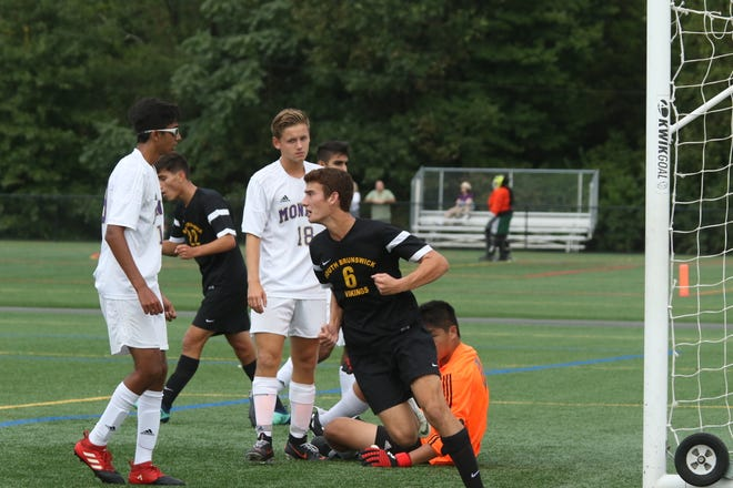 South Brunswick's Connor Ferry (6) scores a goal against Monroe on Sept. 13, 2018.