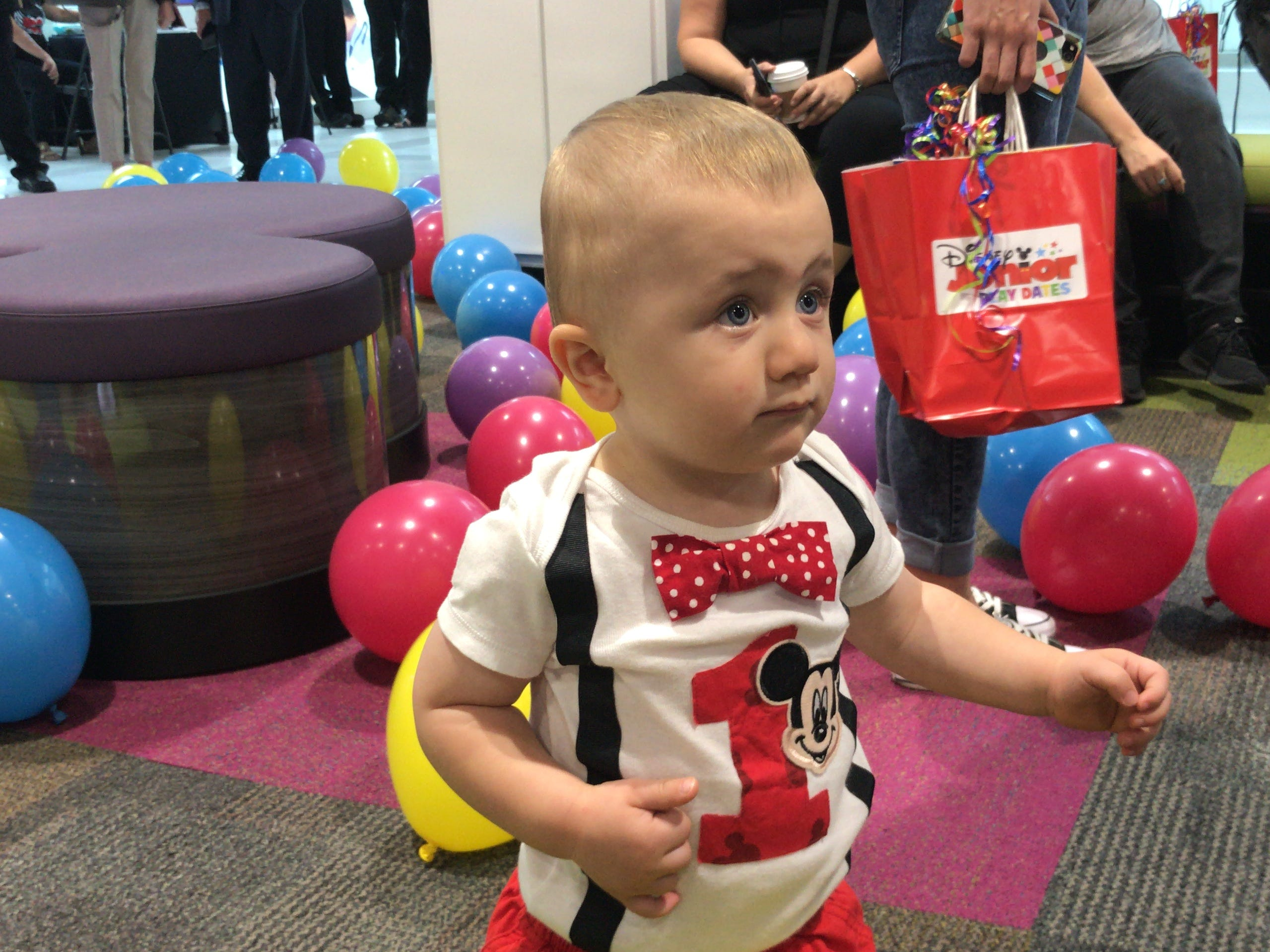 Sawyer, 1, of Mercer County, enjoys the newly opened Disney Junior Play Zone at Menlo Park Mall in Edison.