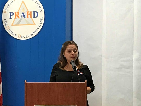 Kim Victoria Ruiz, executive director and chief executive officer of the Puerto Rican Association for Human Development in Perth Amboy during an event Thursday reflecting on the one year anniversary of Hurricane Maria in Puerto Rico.