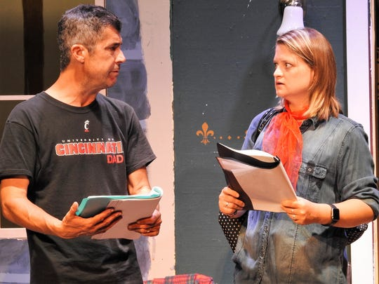 "Jeff Wherley, as John, helps aspiring actress Angel, played by Katie Aggas, to rehearse a scene for a show in ""Here on the Flight Path"" set to open at the Triple Locks Theater."