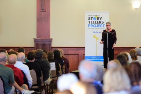 Kay Graham speaks during the Des Moines Storytellers project at Forte Banquet & Conference Center Sept. 20, 2018.