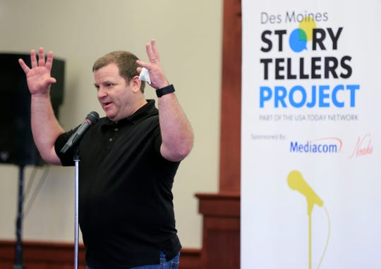 Matt Glenn speaks during the Des Moines Storytellers project at Forte Banquet & Conference Center Sept. 20, 2018.