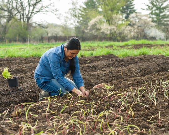 Tika Bhandari, 38, works in a community garden, one of her many duties with Lutheran Services in Iowa. Bhandari and her family are refugees from Bhutan who came to Iowa in 2007.