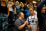 Two Roosevelt students with Down syndrome, Daniel Custis and Joy Rector, were elected Prince and Princess at Roosevelt High School's homecoming assembly.