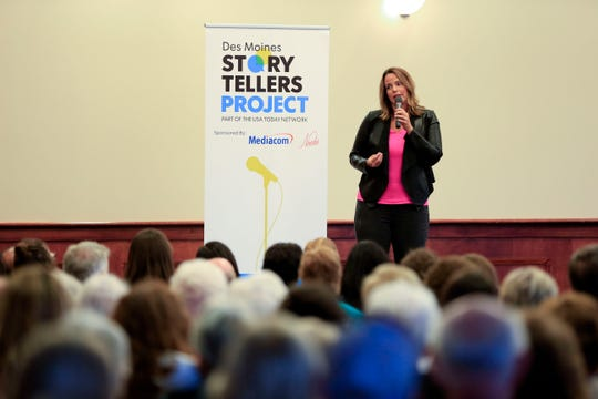 Colleen Kelly Powell speaks during the Des Moines Storytellers project at Forte Banquet & Conference Center in Des Moines on Sept. 20, 2018.