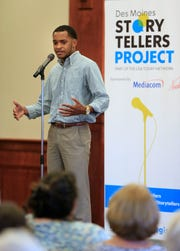 Jovan Johnson speaks during the Des Moines Storytellers project at Forte Banquet & Conference Center Sept. 20, 2018.