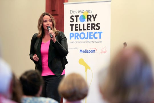 Coleen Kelly Powell speaks during the Des Moines Storytellers project at Forte Banquet & Conference Center Sept. 20, 2018.