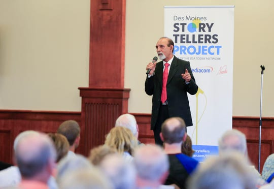 Amar Sinha speaks during the Des Moines Storytellers project at Forte Banquet & Conference Center Sept. 20, 2018.