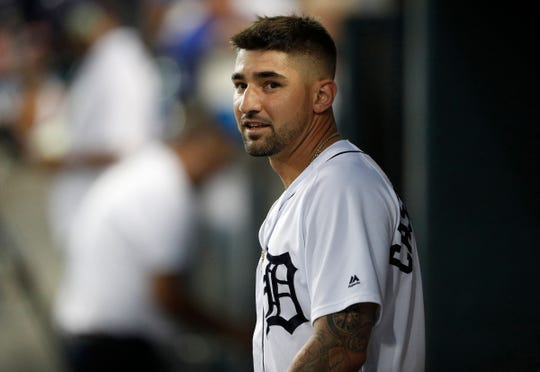 Tigers right fielder Nicholas Castellanos in the dugout during a game against the Royals at Comerica Park on Sept. 20, 2018.