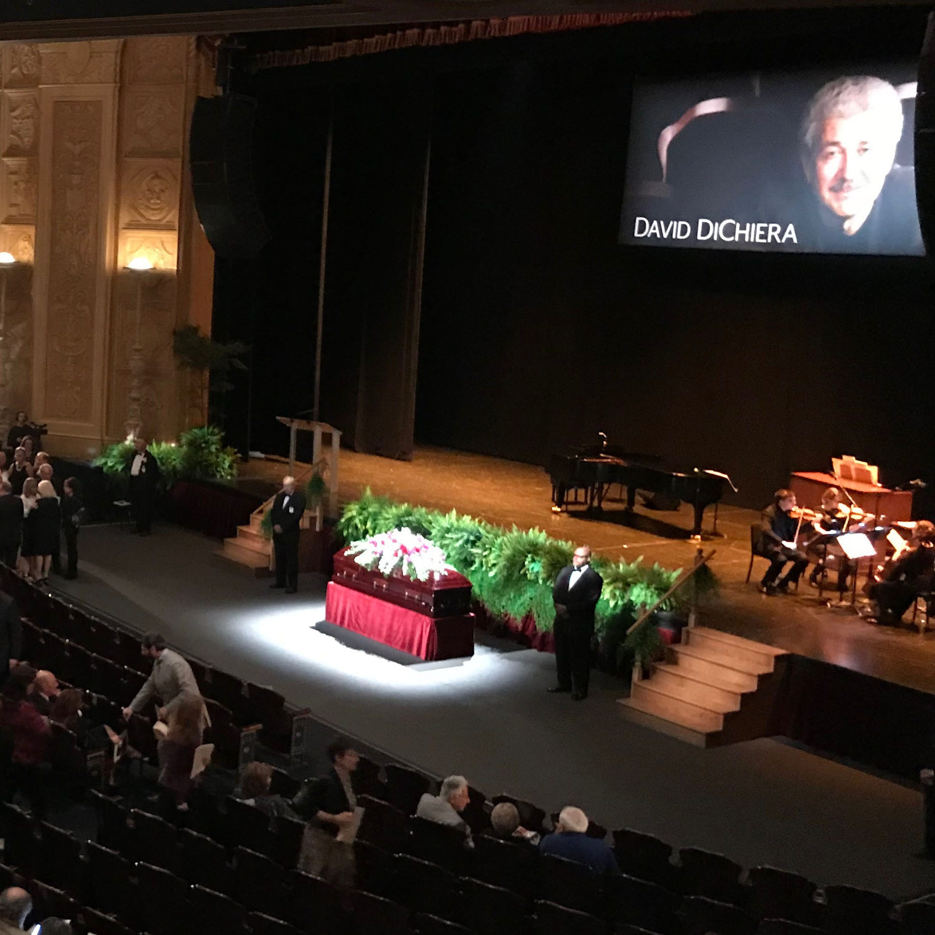 A large crowd gathered at the Detroit Opera House on Friday, Sept. 21, 2018 to honor the life of David DiChiera, who died after a battle with Stage 4 pancreatic cancer on Tuesday, Sept. 18.