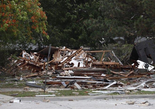 House explosion on Lennon Street near Harper Avenue in Harper Woods, Friday, September 21, 2018.
