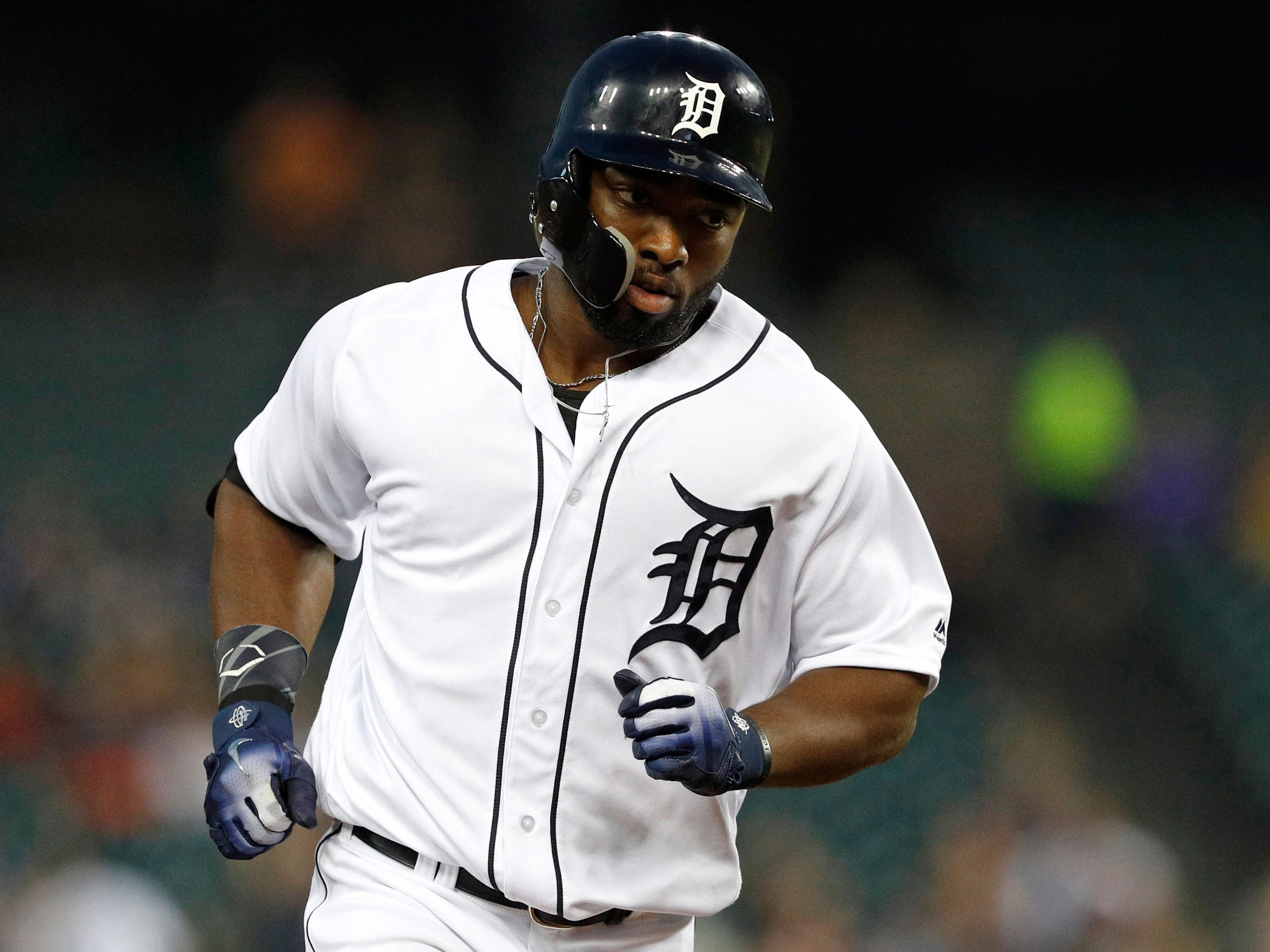 Detroit Tigers left fielder Christin Stewart rounds the bases after hitting a two-run home run during the first inning against the Kansas City Royals at Comerica Park on Sept. 20, 2018. It was Stewart's first career MLB homer.