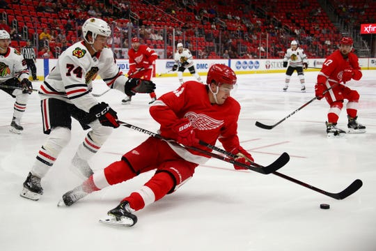 Filip Zadina of Detroit Red Wings fights with Nicolas Beaudin of the Chicago Blackhawks for a preseason game at the Little Caesars Arena on September 20, 2018 in Detroit around the puck.