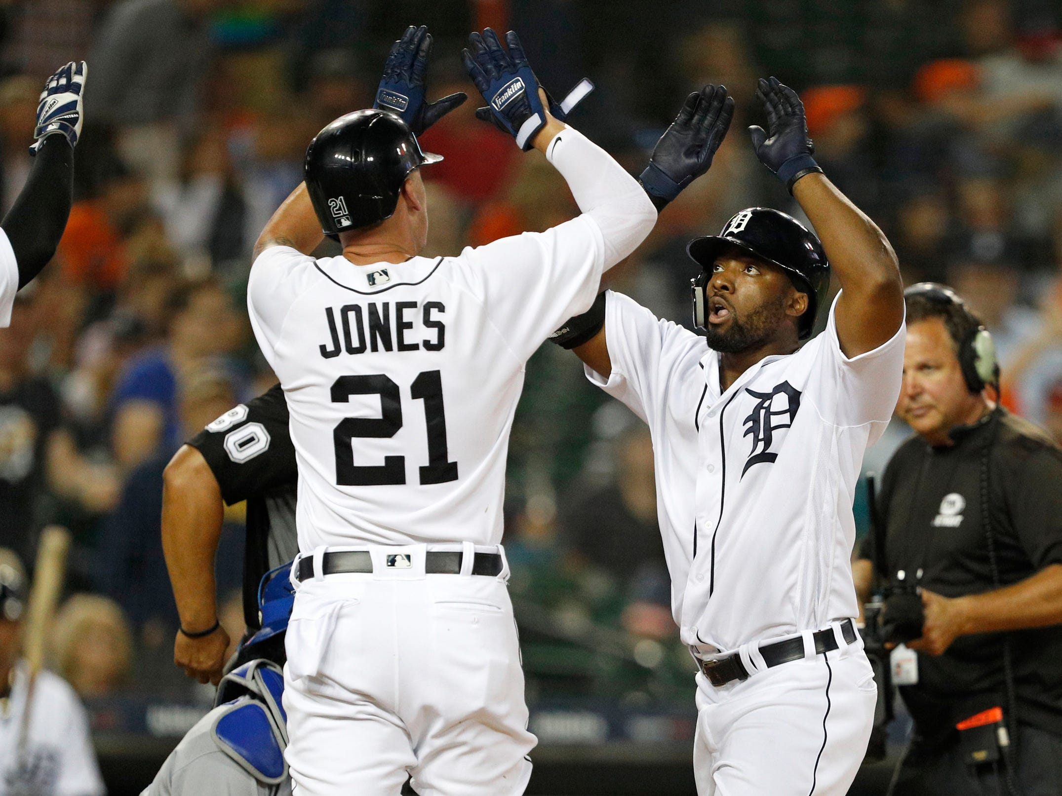 Detroit Tigers left fielder Christin Stewart, right, celebrates with left fielder JaCoby Jones after hitting a three-run home run during the second inning against the Kansas City Royals at Comerica Park on Thursday, Sept. 20, 2018, in Detroit.