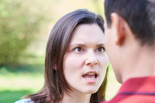 Outdoor Shot Of Young Couple Having Argument