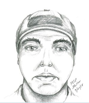 Sketch of the suspect described by the victim drawn by a forensic artist with the Michigan State Police