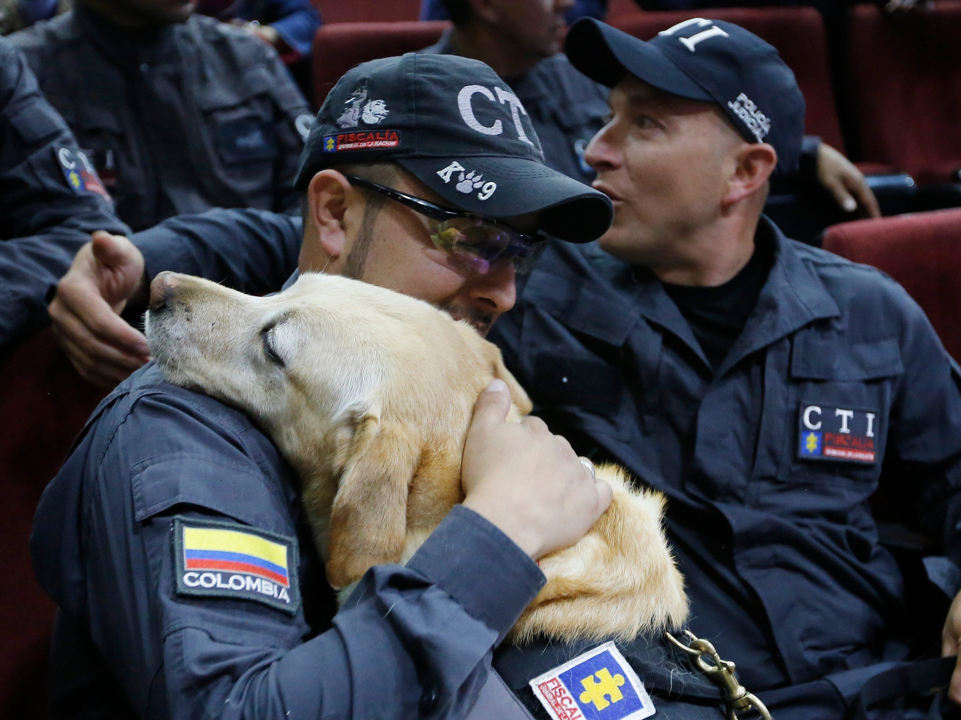 Handler Juan Carlos Rojas embraces sniffer dog Katy during a retirement ceremony for 14 sniffer dogs in Bogota, Colombia, Friday, Sept. 21, 2018. The retiring dogs were presented with medals and certificates in a ceremony attended by dozens of their human comrades. The chief prosecutor plans to put the dogs up for adoption, placing them with families that will help them to live out their retirement years in peace.