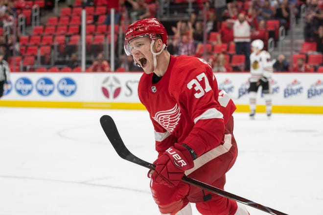 Detroit right wing Evgeny Svechnikov celebrates his winning goal in the third period.