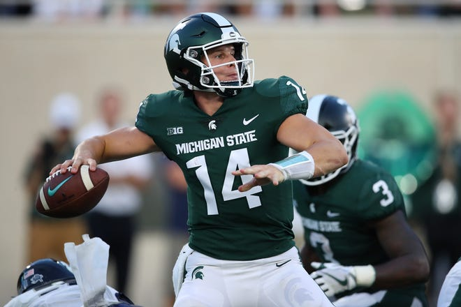Quarterback Brian Lewerke and the Spartans will open the Big Ten season at Indiana on Saturday night.
