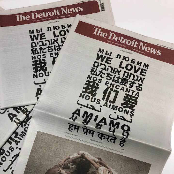 Kanye West Yeezy ad covers Friday's Detroit News